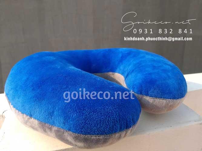 Mặt sau gối chữ U Samsung - chất liệu vải velboa màu xanh