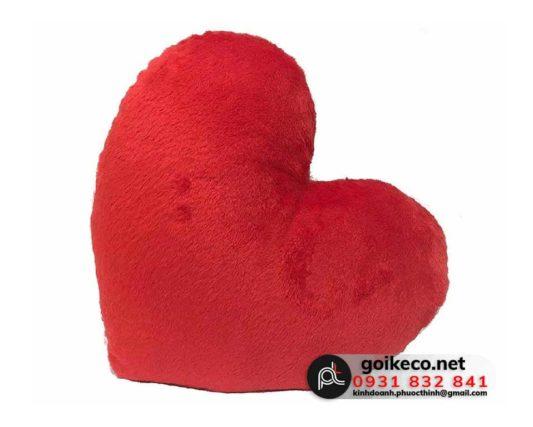 Gối hình trái tim vải velboa đỏ