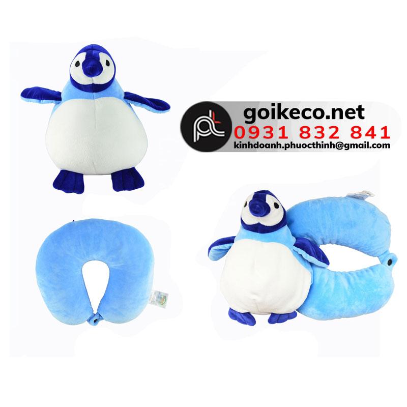 Gối kê cổ hạt xốp hình chim cánh cụt xanh