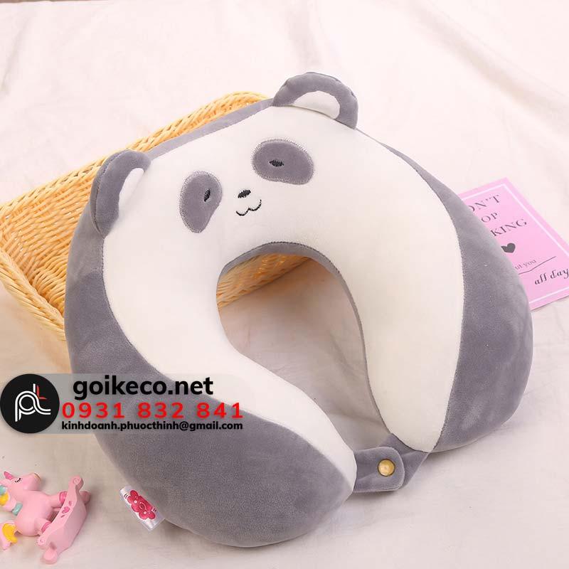 Gối chữ U hình gấu panda màu xám